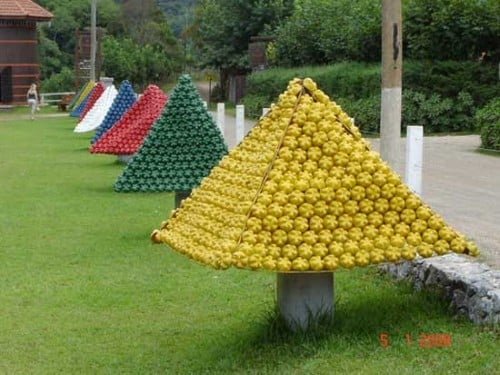 Aparador Sala De Estar ~ Decoraç u00e3o de Natal com garrafa pet