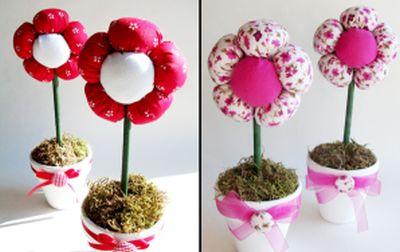 Este vaso com flores de tecido para dia das mães é um lindo objeto de decoração e deixa qualquer ambiente muito mais interessante (Foto: Divulgação)