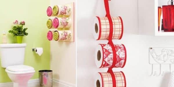 Seu banheiro pode ganhar fôlego novo na decoração com este porta-papel higiênico com latas (Foto: diy-enthusiasts.com)