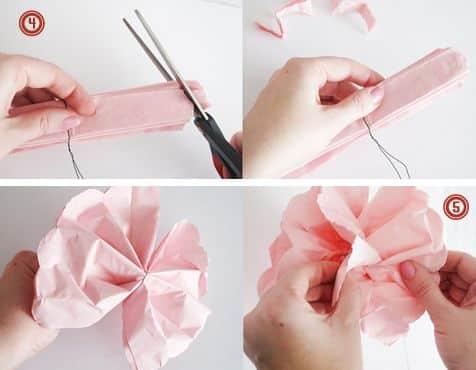 como fazer flor de papel de seda