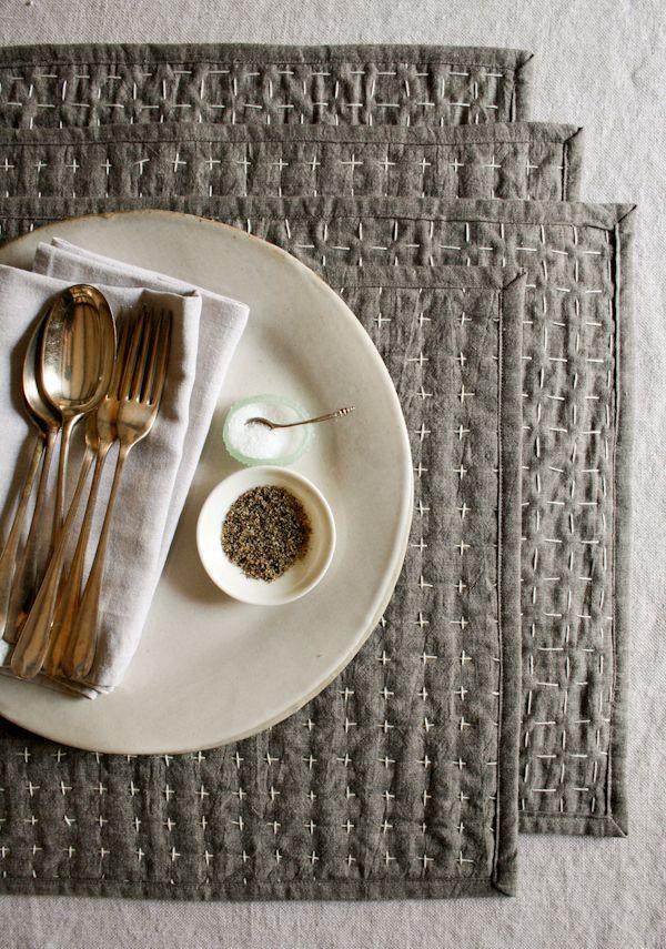 Placemats de tecido vai deixar as suas refeições mais diferenciadas (Foto: purlbee.com)