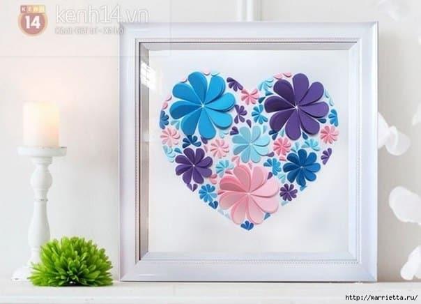 Coração com flores de papel é diferente, mas fácil de ser feito (Foto: fabartdiy.com)