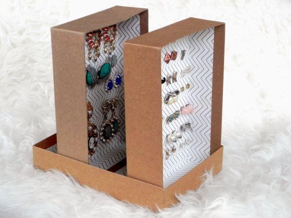 Este porta-brincos com caixa de sapato é diferente, mas muito lindo e barato de ser conseguido (Foto: smartnsnazzy.com)