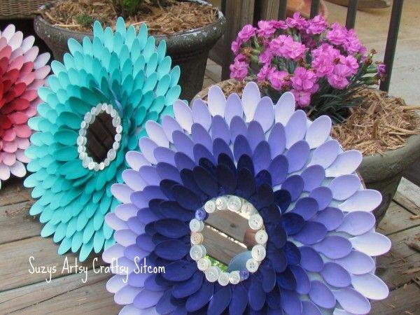 Aparador Feito De Paletes ~ Como Fazer Artesanato com Colher de Plástico