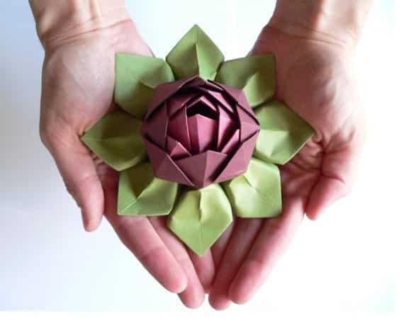 Como fazer flor de l tus em origami - Origami para todos ...