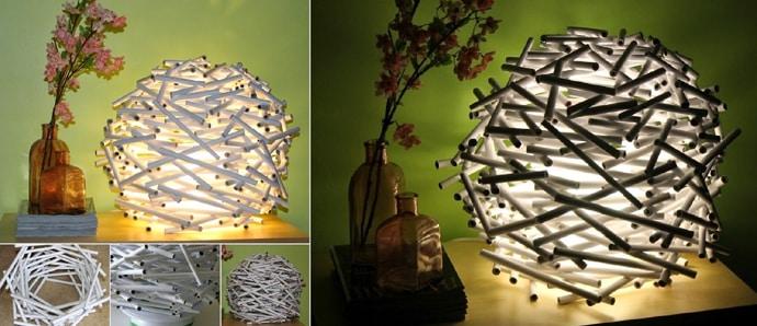 luminária com canudos