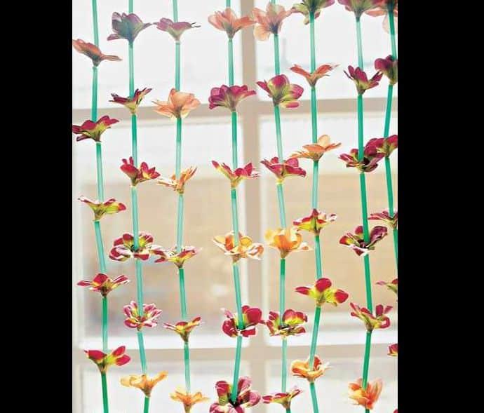 cortina com canudos