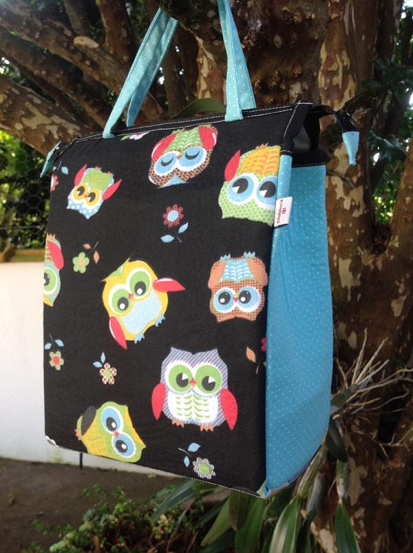 bolsa com tecido com corujinhas