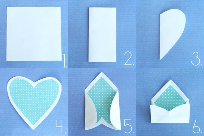 dobradura de papel origami de envelope de coração