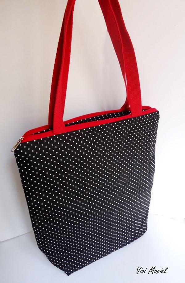 bolsa com tecido poá