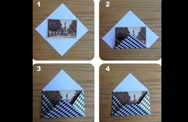 dobradura de papel origami envelope facil