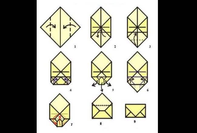 dobradura de papel origami envelope simples
