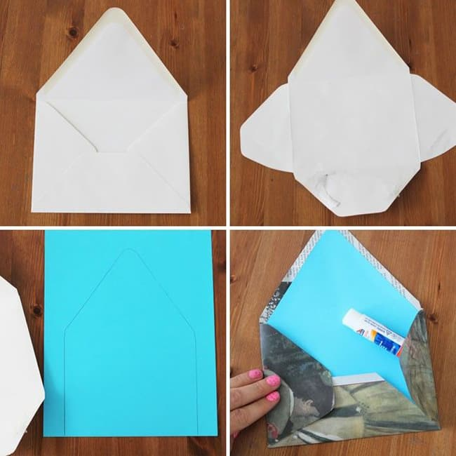 dobradura de papel origami envelope duas cores