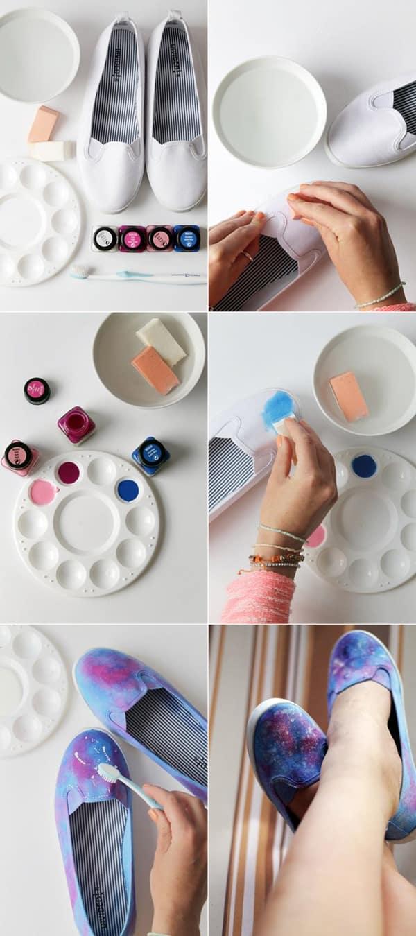 customização de calçado com aquarela