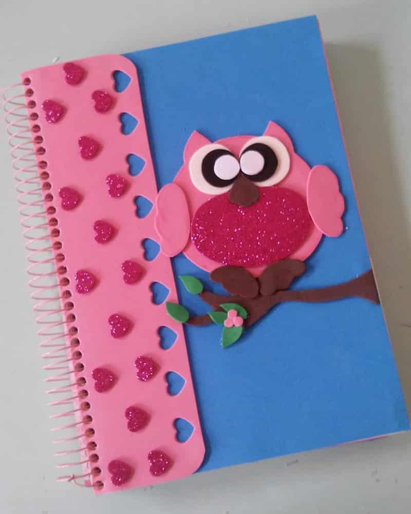caderno com eva coruja e coração