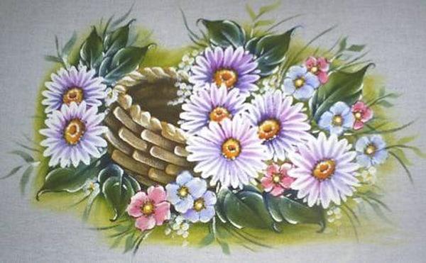 pintura em tecido cesta