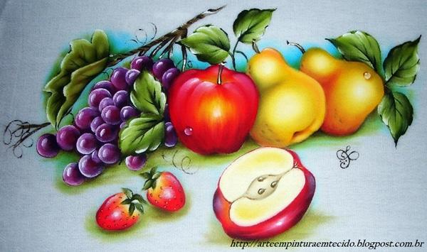 pintura em tecido maçã