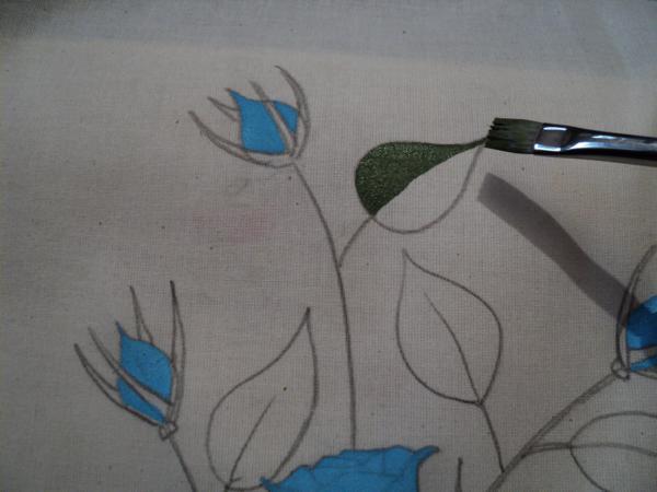 pano de prato pintado com rosa azul