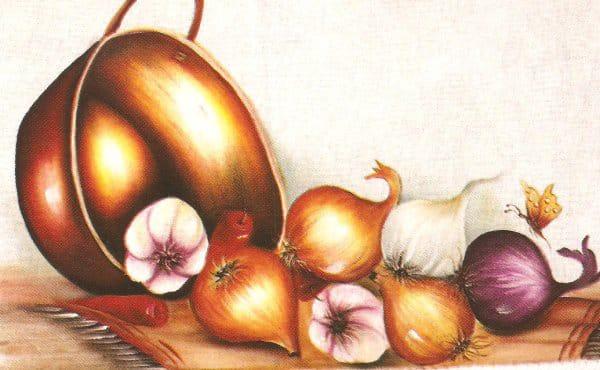 pintura em tecido cebolas
