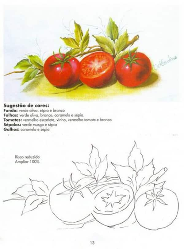 pintura em tecido tomate