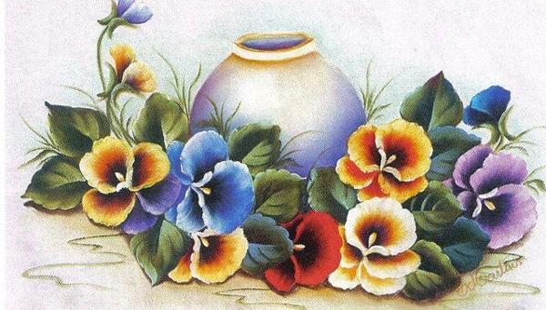 pintura em tecido jarro