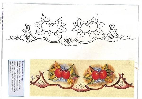 pintura em tecido cerejas