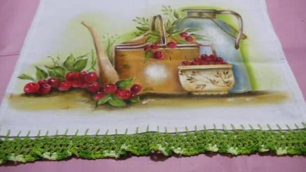 pintura em tecido chaleira