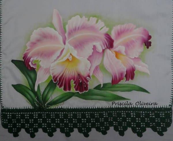 pintura em tecido orquidea