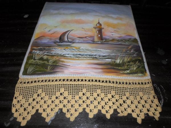 pano de prato pintado com paisagem