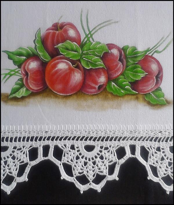 pano de prato pintado com cereja