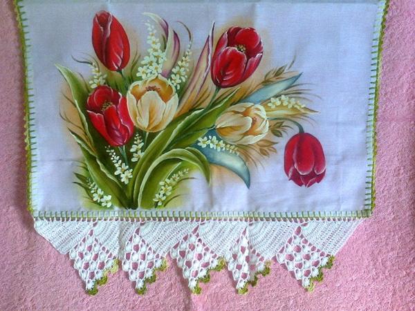 pano de prato pintado com flores