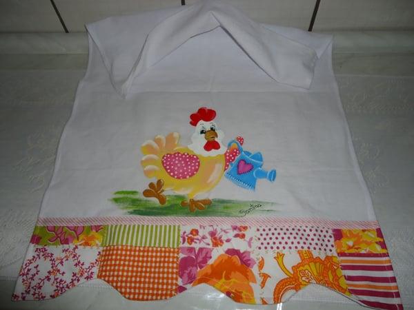 pano de prato pintado com galinha