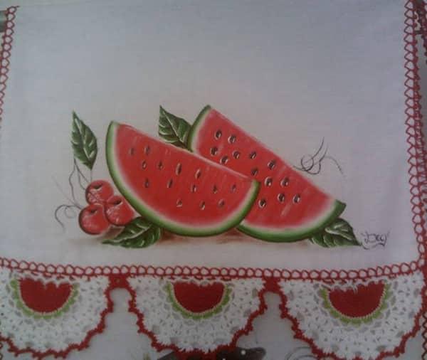 pano de prato pintado com melancia