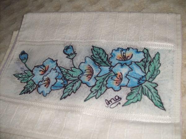 pintura com giz de cera toalha