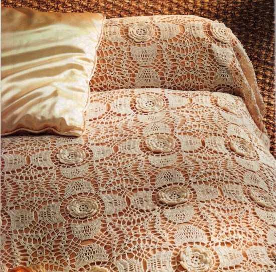 colcha de croche feito com linha anne
