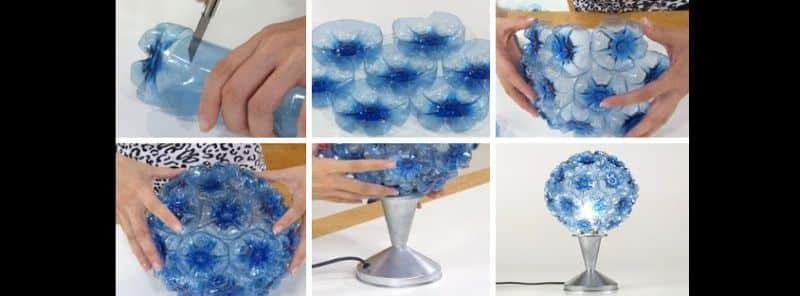 abajur de garrafa pet azul