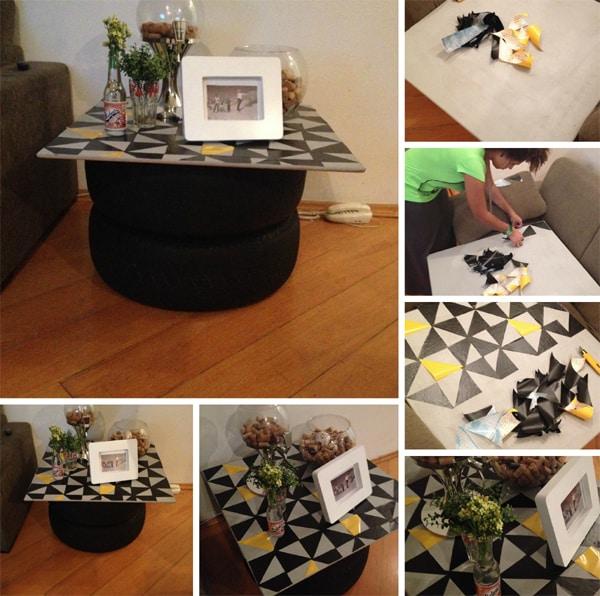 mesa com pneu com papel contact