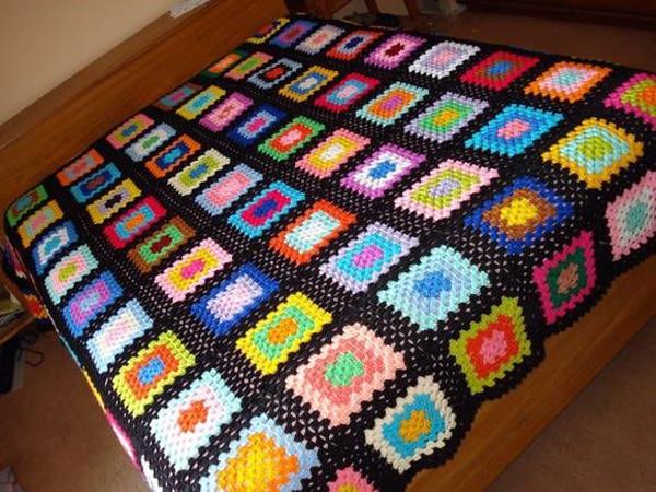 colcha colorida de croche simples