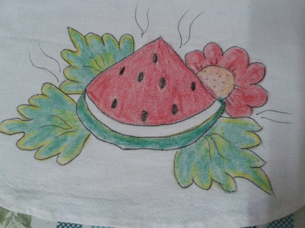 pintura com giz de cera melancia
