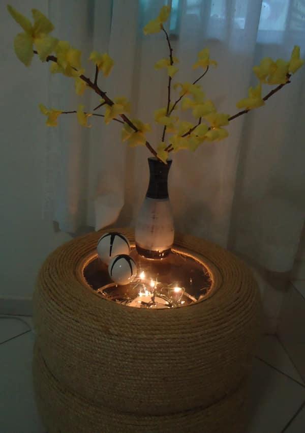 mesa com pneu com luz