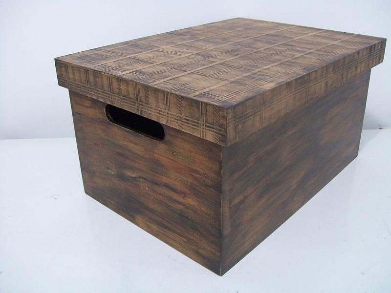 pintura em mdf envelhecida caixa com alça