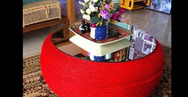 mesa com pneu vermelho