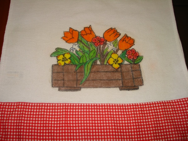 pintura com giz de cera cesta