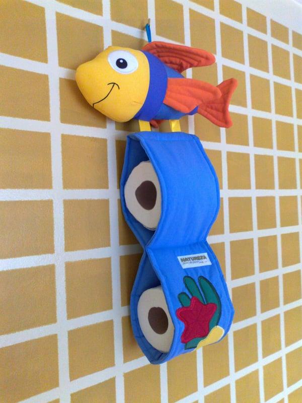 porta papel higiênico de peixe