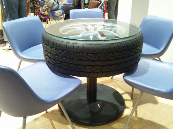 mesa com pneu simples