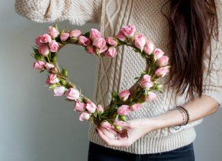 coração de flores passo a passo