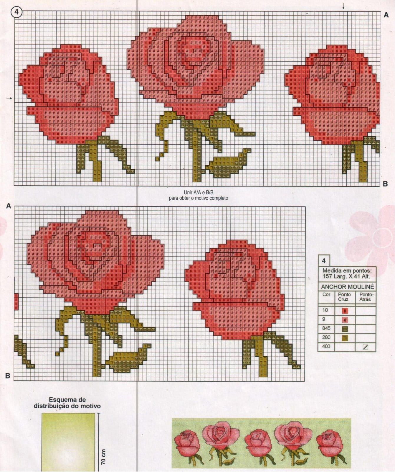 77a40d74ae Flores em Ponto Cruz  25 Ideias e Como Fazer