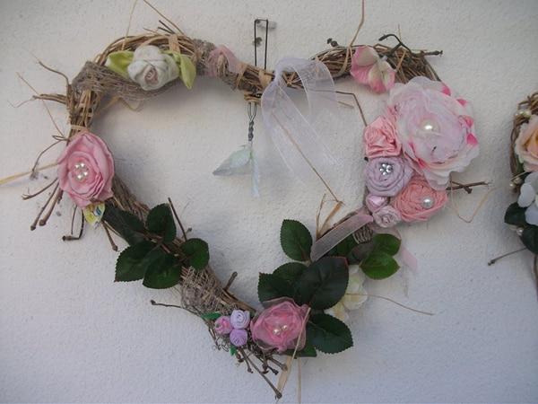 coração de flores de tecido