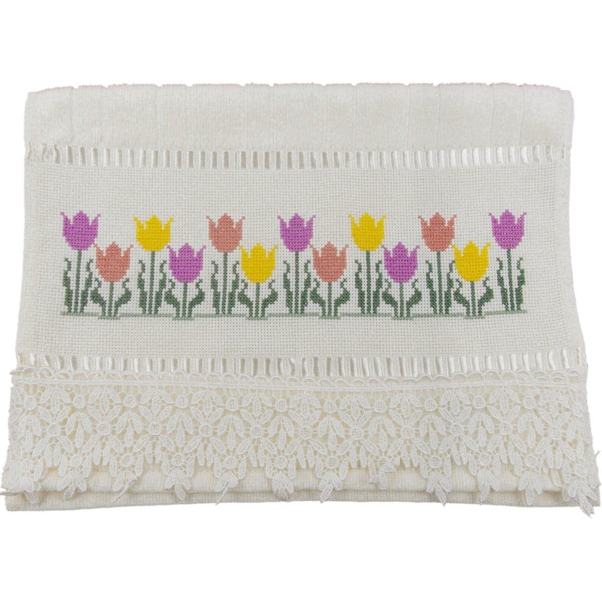 flor de ponto cruz toalha de banho