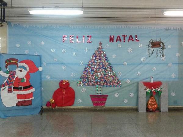 mural de Natal para escola papai noel